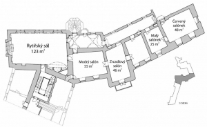 Schéma místností zámku